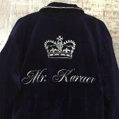 Махровый халат с вышивкой синий с белой отстрочкой