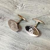 Серебряные овальные запонки