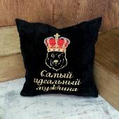 Черная вельветовая интерьерная подушка
