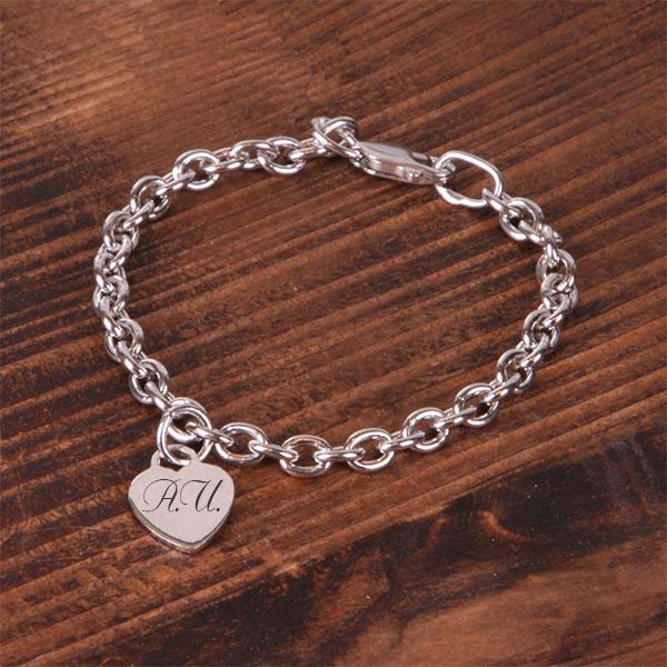 браслет серебряный сердечко с гравировкой Giftmeshop
