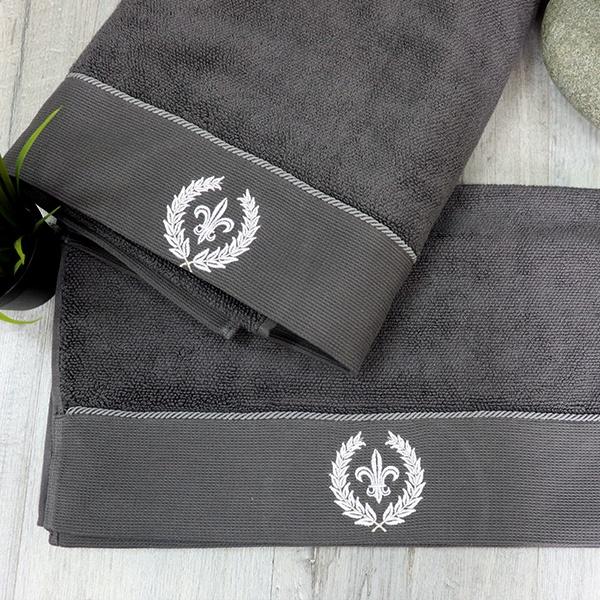"""Набор полотенец с персональной вышивкой """"Лонган"""" 50х100, 85х150, цвет серый от 4 200 руб"""