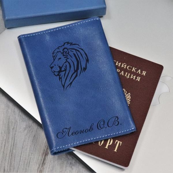 """Кожаная обложка для паспорта с гравировкой """"Self blue"""" от 1 700 руб"""