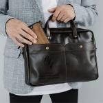 Кожаная сумка с гравировкой Case Brown