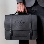 Кожаный портфель Магнат с именной гравировкой
