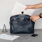 Кожаная сумка с гравировкой Case Blue