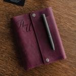 Кожаный органайзер на кольцах А6 Major Garnet с гравировкой