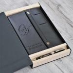 Подарочный набор кожаный дизайнерский ежедневник и ручка Pierre Cardin с гравировкой Орландо