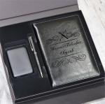 Подарочный набор бизнес аксессуаров и аккумулятора с гравировкой Trinity