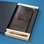 Подарочный набор портмоне и ручка Pierre Cardin с гравировкой Берже, цвет коричневый
