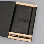 Подарочный набор портмоне и ручка Pierre Cardin с гравировкой Берже, цвет черный