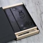 Подарочный набор  ежедневник на кольцах  и ручка Parker с гравировкой Мичиган