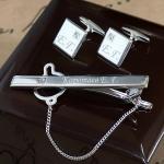 Подарочный набор с гравировкой запонки и зажим для галстука Swarovski