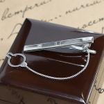 Серебряный зажим для галстука Swarovski с гравировкой