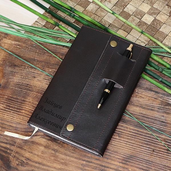 """Кожаный блокнот """"Аполлон"""" с гравировкой, цвет коричневый от 3 000 руб"""