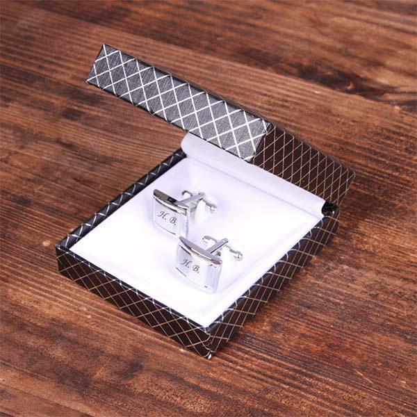 Запонки прямоугольные с гравировкой, цвет серебро - 2